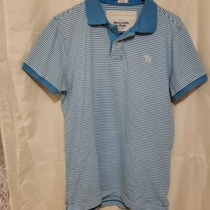 ABERCROMBIE blue stripe collar shirt Sz xxl